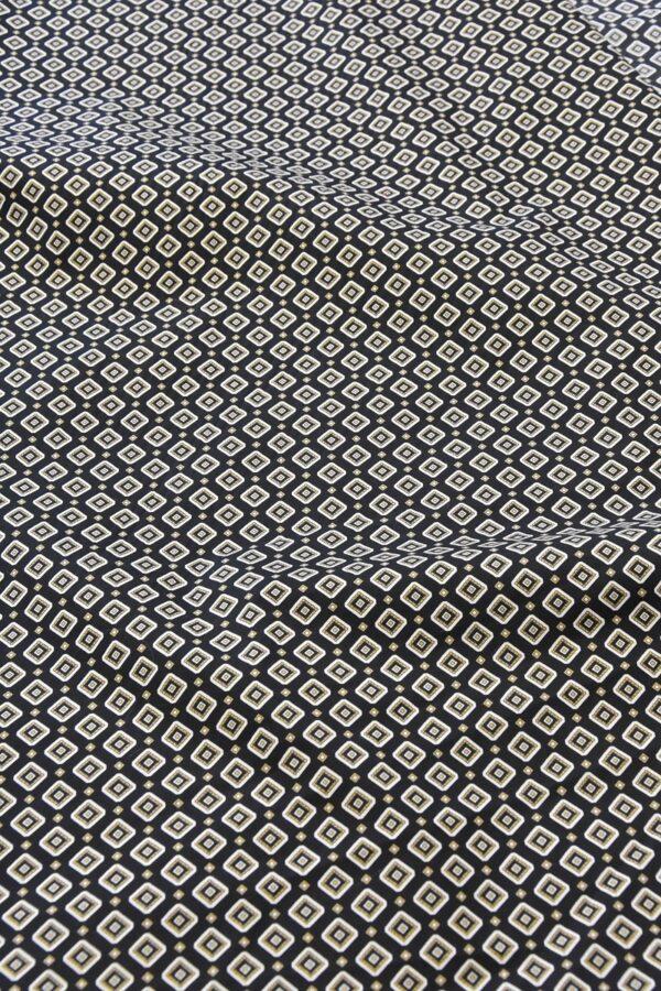 Хлопок стрейч черный узор из ромбов (4775) - Фото 9