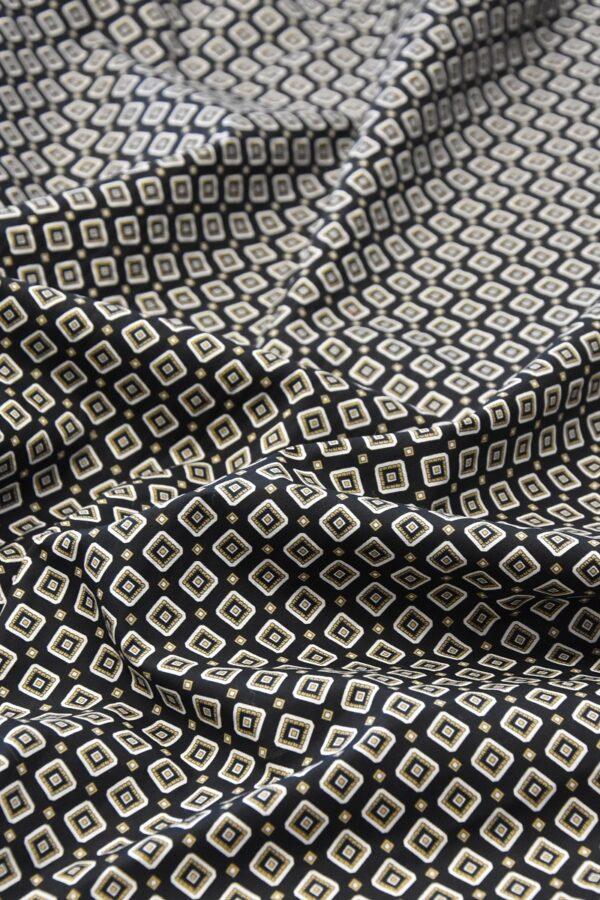 Хлопок стрейч черный узор из ромбов (4775) - Фото 6