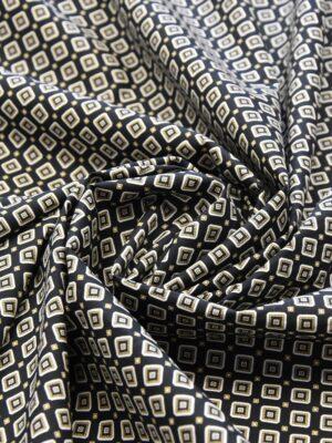 Хлопок стрейч черный узор из ромбов (4775) - Фото 12