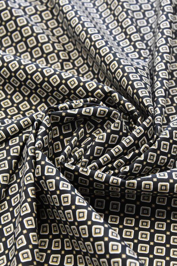 Хлопок стрейч черный узор из ромбов (4775) - Фото 7