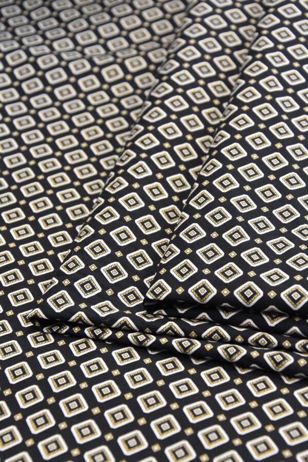 Хлопок стрейч черный узор из ромбов (4775) - Фото 8