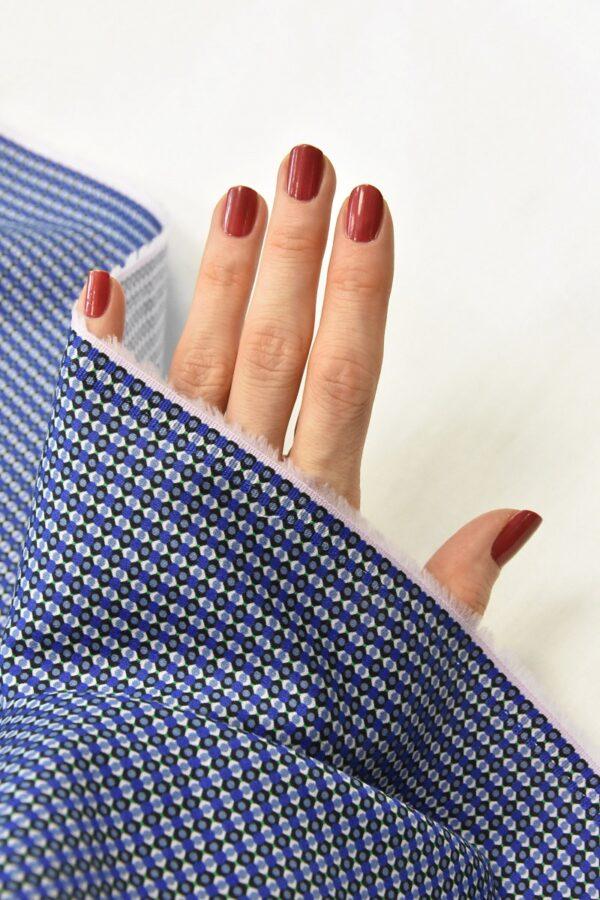 Хлопок синий с мелким геометрическим принтом (4777) - Фото 10
