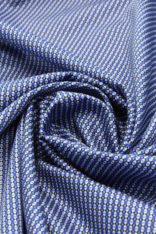 Хлопок синий с мелким геометрическим принтом (4777) - Фото 7