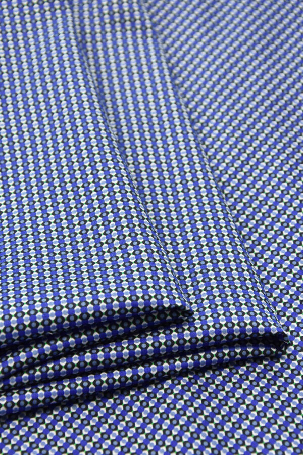 Хлопок синий с мелким геометрическим принтом (4777) - Фото 8