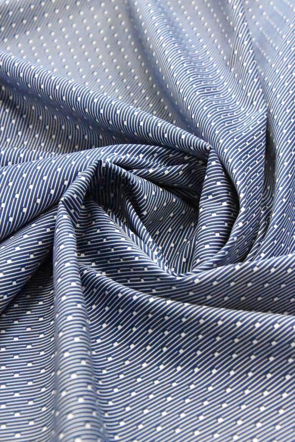 Хлопок полоска синий мелким узором (4787) - Фото 7