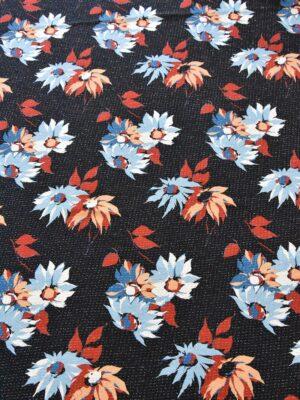 Шанель твид хлопковый голубые красные цветы на черном (4792) - Фото 10