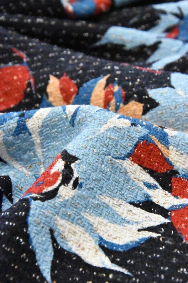 Шанель твид хлопковый голубые красные цветы на черном (4792) - Фото 9