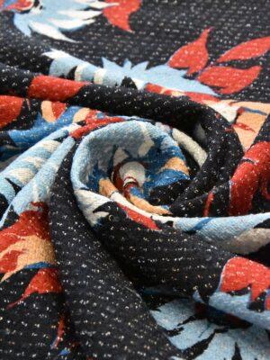 Шанель твид хлопковый голубые красные цветы на черном (4792) - Фото 11
