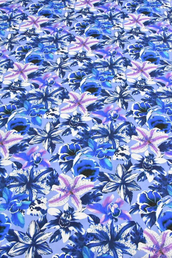 Хлопок синий с лилиями (4802) - Фото 6