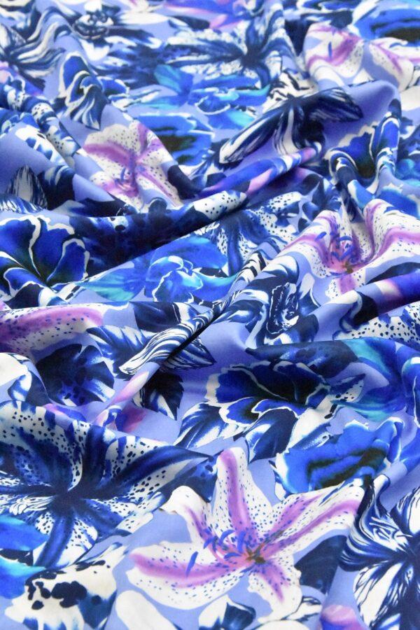 Хлопок синий с лилиями (4802) - Фото 10