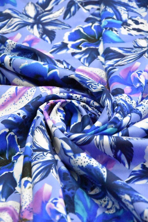 Хлопок синий с лилиями (4802) - Фото 7