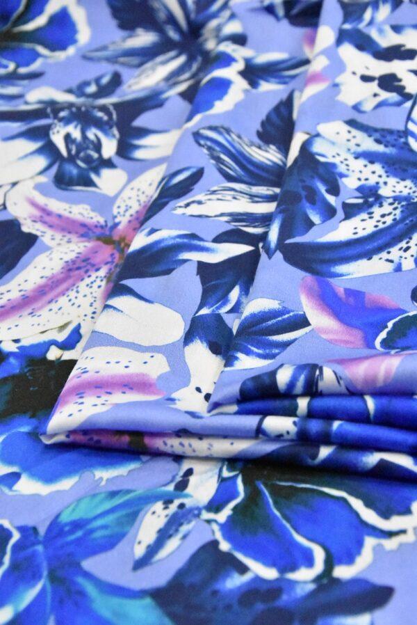 Хлопок синий с лилиями (4802) - Фото 8