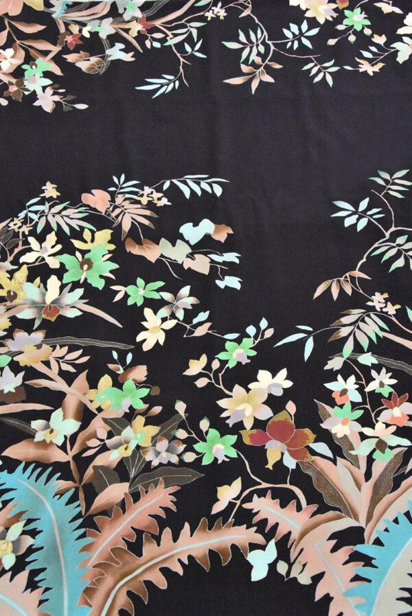Крепдешин шелк купон цветы на черном (4805) - Фото 6