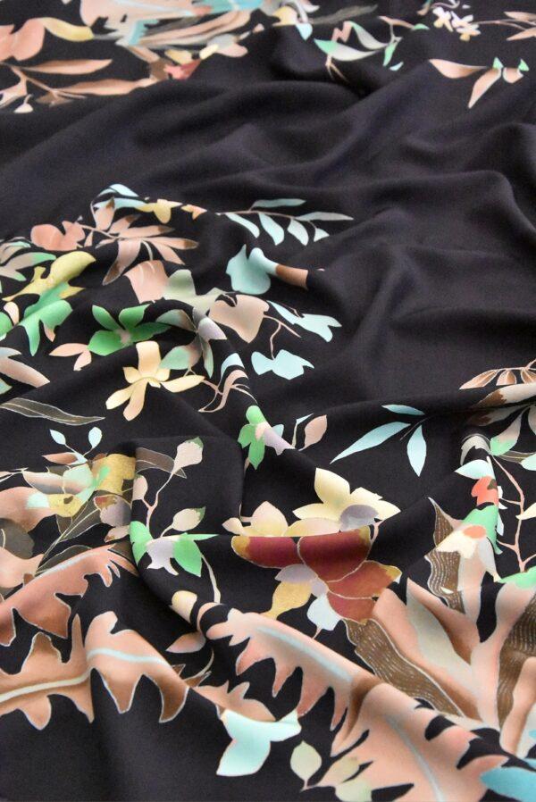 Крепдешин шелк купон цветы на черном (4805) - Фото 7