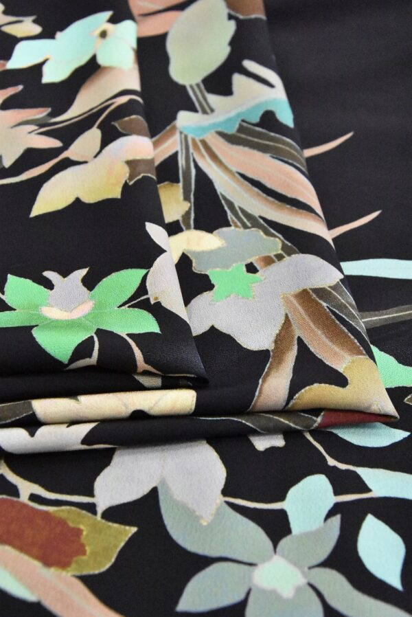 Крепдешин шелк купон цветы на черном (4805) - Фото 9
