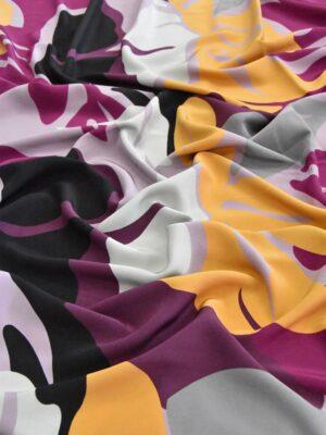 Крепдешин шелк абстракция желтый фиолетовый черный (4806) - Фото 11