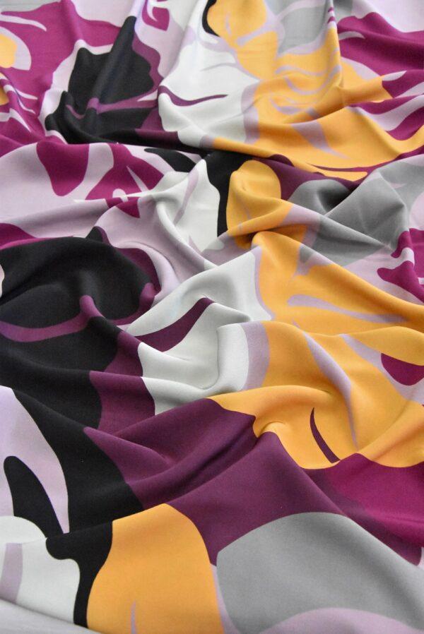 Крепдешин шелк абстракция желтый фиолетовый черный (4806) - Фото 7