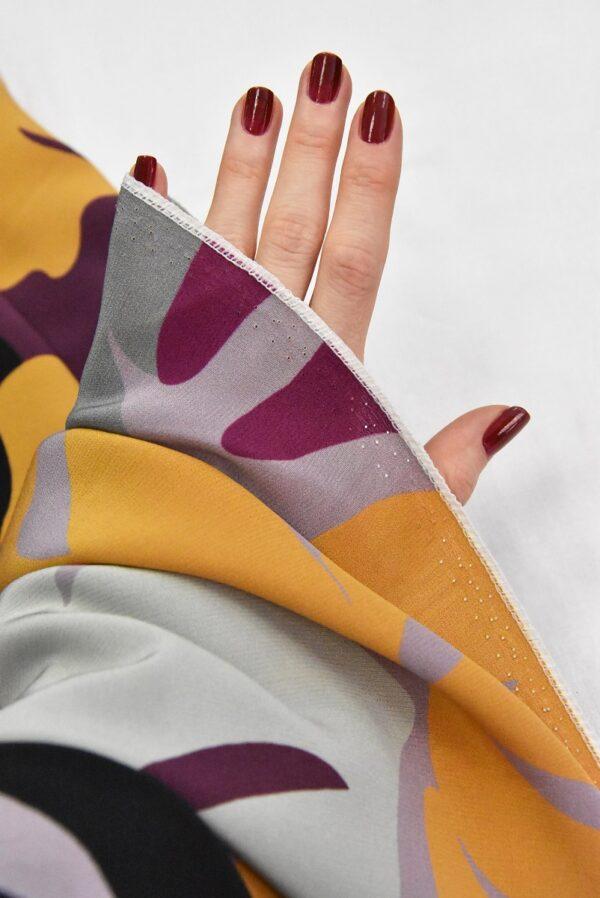 Крепдешин шелк абстракция желтый фиолетовый черный (4806) - Фото 10