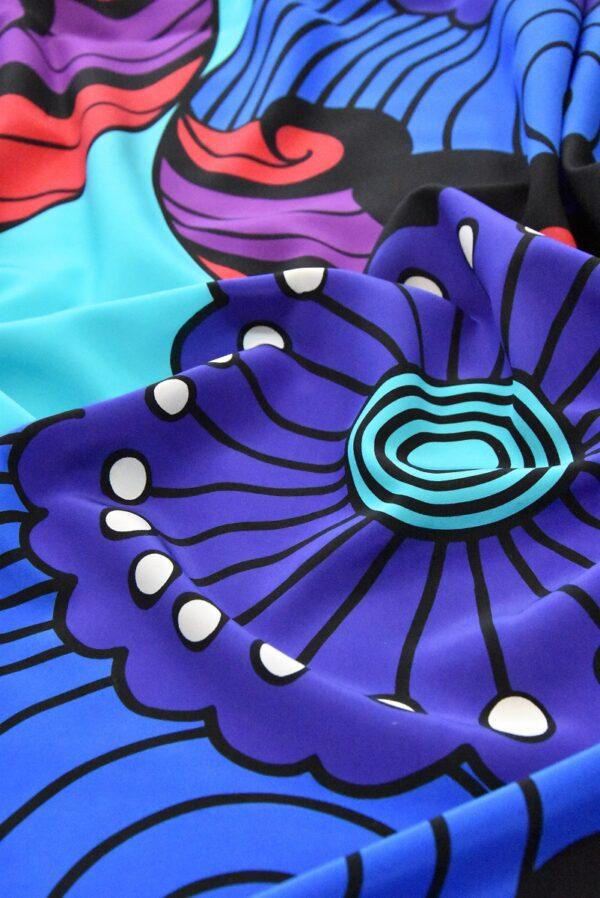 Крепдешин шелк крупные цветы (4807) - Фото 9