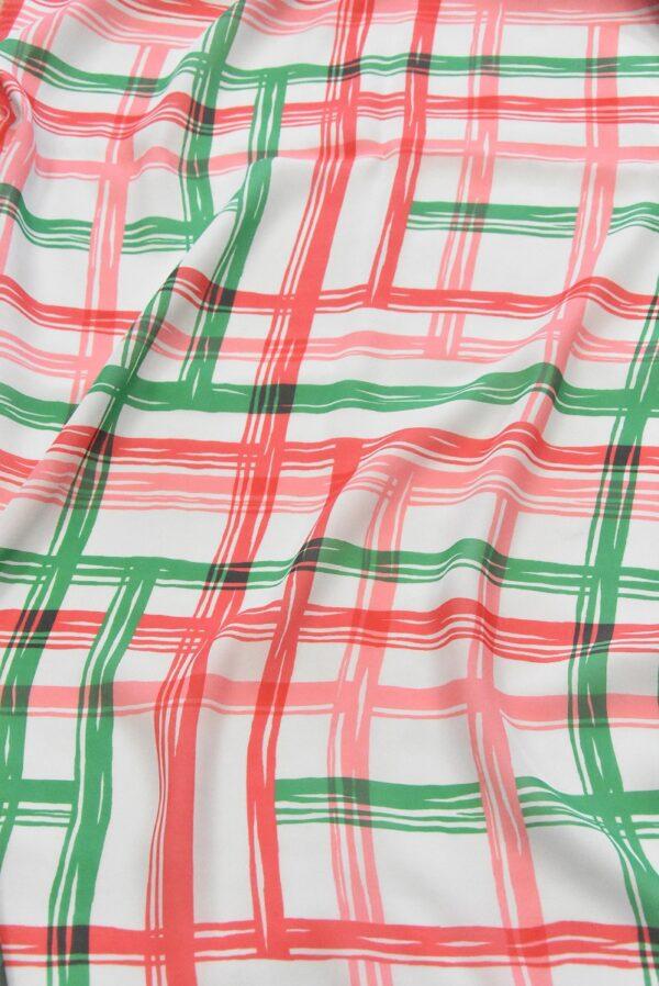 Крепдешин шелк в зеленую с красным клетку (4810) - Фото 6