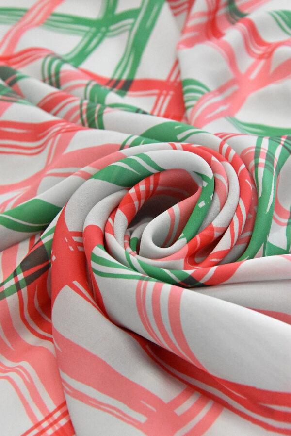 Крепдешин шелк в зеленую с красным клетку (4810) - Фото 8