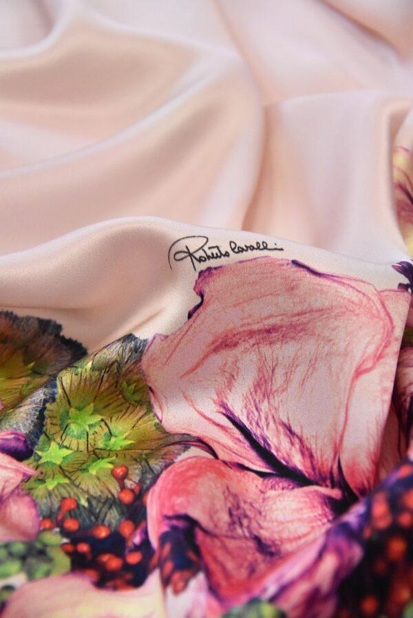 Шелк атласный с купоном розовый фон кайма из цветов (4968) - Фото 9