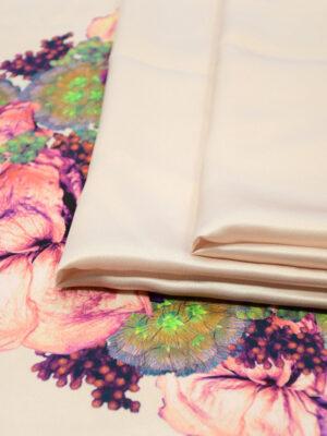 Шелк атлас купон с цветочной каймой на нежно-розовом (4969) - Фото 14