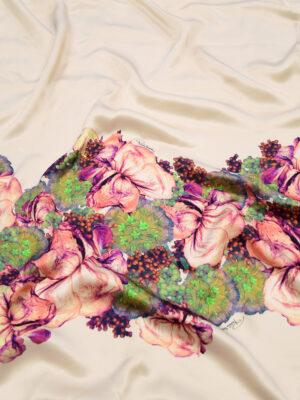 Шелк атлас купон с цветочной каймой на нежно-розовом (4969) - Фото 13