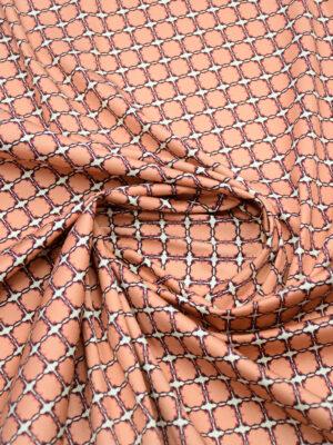 Сатин стрейч белый фон коралловые плитки (5001) - Фото 16