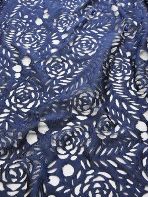 Органза синие цветы и листья на черном фоне (5005) - Фото 14
