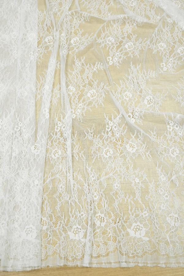Кружево с цветочным узором молочно-белое (5038) - Фото 6