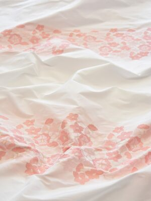 Тафта купон белая с персиковыми цвеиами (5058) - Фото 10