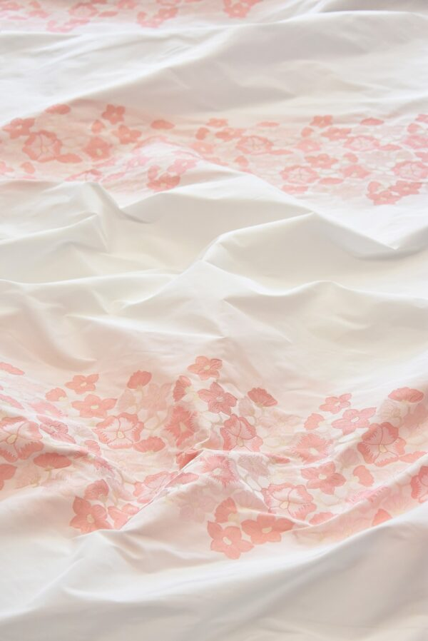 Тафта купон белая с персиковыми цвеиами (5058) - Фото 6
