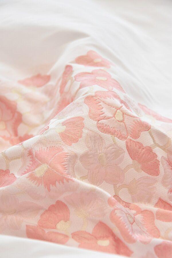 Тафта купон белая с персиковыми цвеиами (5058) - Фото 8
