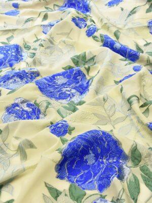 Органза шелковая синие цветы на ванильном фоне (5187) - Фото 20