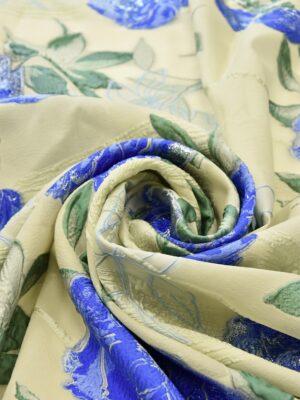Органза шелковая синие цветы на ванильном фоне (5187) - Фото 21