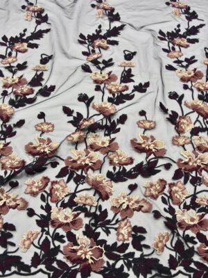 Вышивка на сетке бежевые коричневые черные цветы (5201) - Фото 10