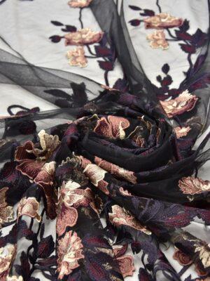 Вышивка на сетке бежевые коричневые черные цветы (5201) - Фото 11