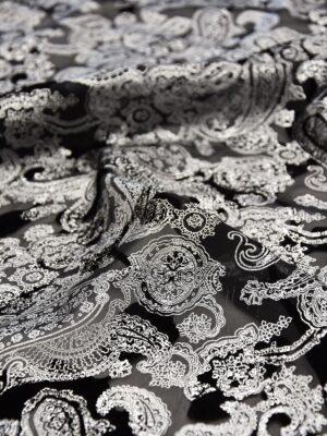 Бархат Деворе восточный узор с серебряным накатом (5206) - Фото 18