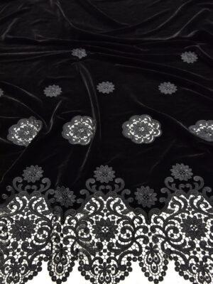 Бархат с черный вышивкой ришелье (5213) - Фото 18