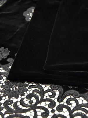 Бархат с черный вышивкой ришелье (5213) - Фото 19