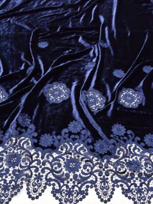 Бархат синий с вышивкой ришелье (5217) - Фото 14