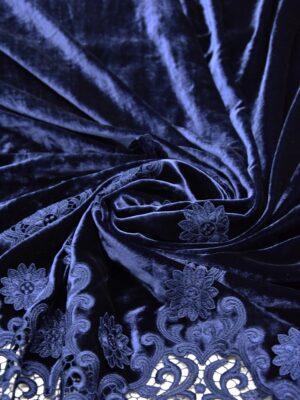 Бархат синий с вышивкой ришелье (5217) - Фото 15