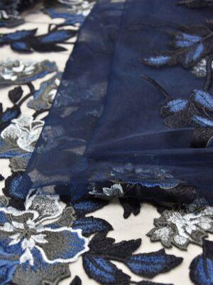 Вышивка на сетке с голубыми и синими цветами (5220) - Фото 18