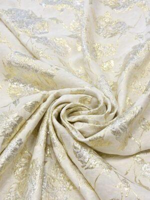 Жаккард шелковый с золотыми и серебряными цветами (5223) - Фото 13
