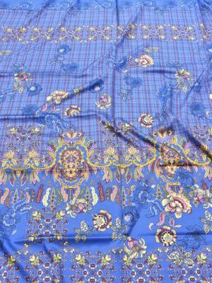 Шелк стрейч купон цветочный узор клетка на синем фоне (5298) - Фото 16