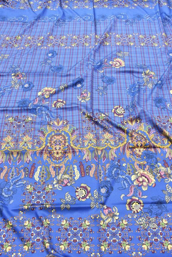 Шелк стрейч купон цветочный узор клетка на синем фоне (5298) - Фото 6