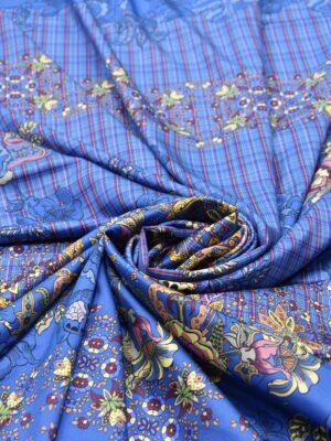 Шелк стрейч купон цветочный узор клетка на синем фоне (5298) - Фото 17