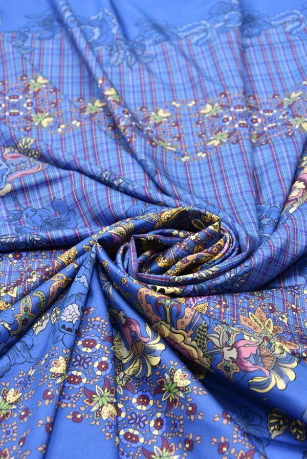 Шелк стрейч купон цветочный узор клетка на синем фоне (5298) - Фото 7