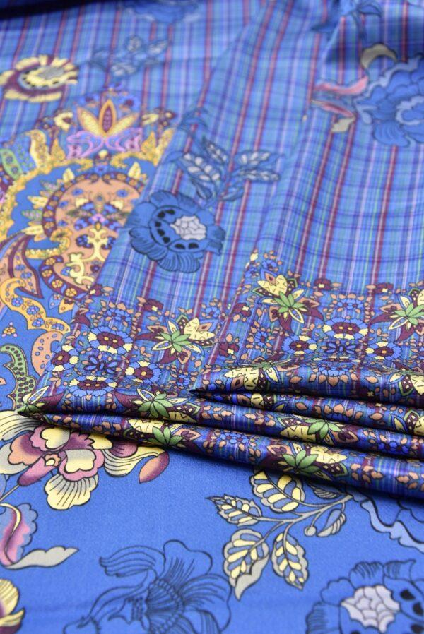 Шелк стрейч купон цветочный узор клетка на синем фоне (5298) - Фото 9